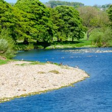 Beautiful stretch of the river with a pebble beach near Burley in Wharfedale