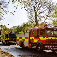 Two fire engines from Bingley provide extra help for the spring fire on Ilkley Moor