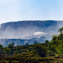Panoma of the still smoking Ilkley Moor the day after the blaze
