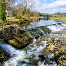 The man made wharfe next to the falls is now used to produce hydro electirc power